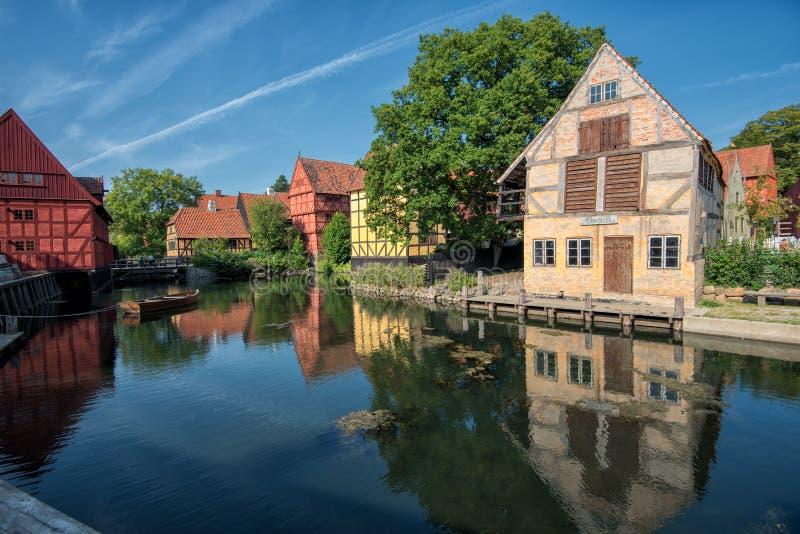 La vieille ville à Aarhus, Danemark photos libres de droits