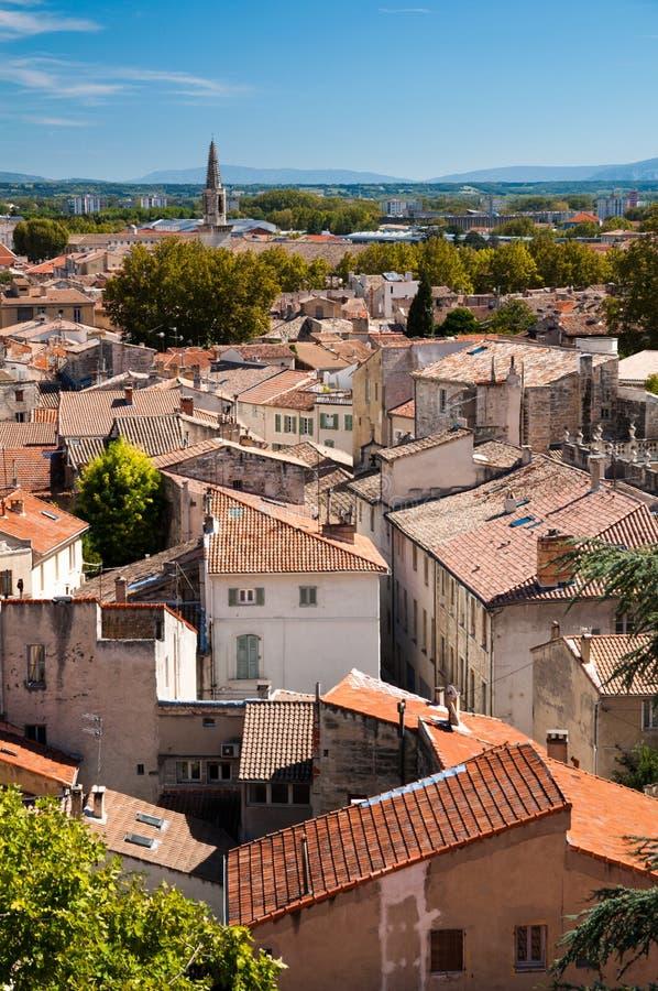 La vieille ville d'Avignon loge la vue images libres de droits