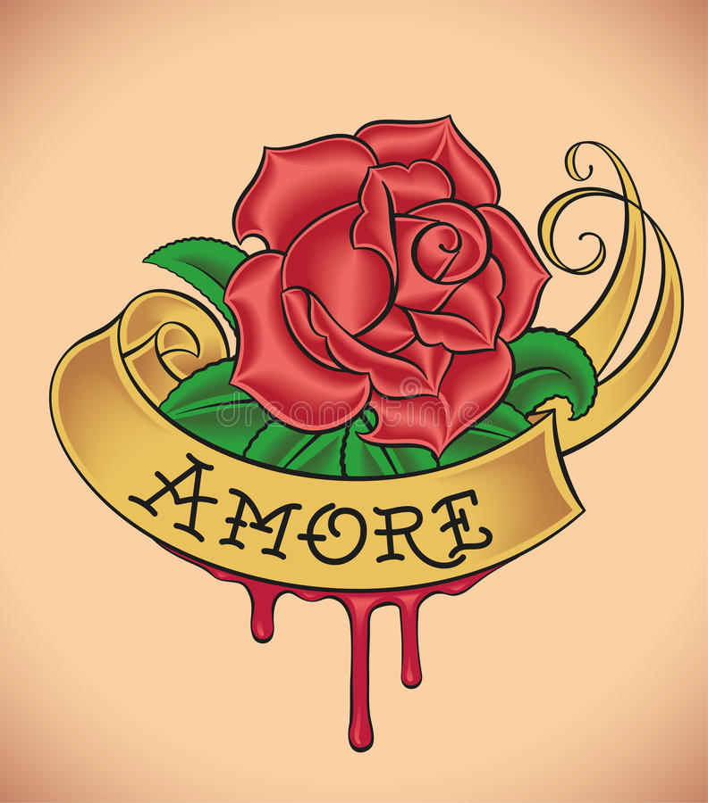 la Viejo-escuela subió - Amore libre illustration