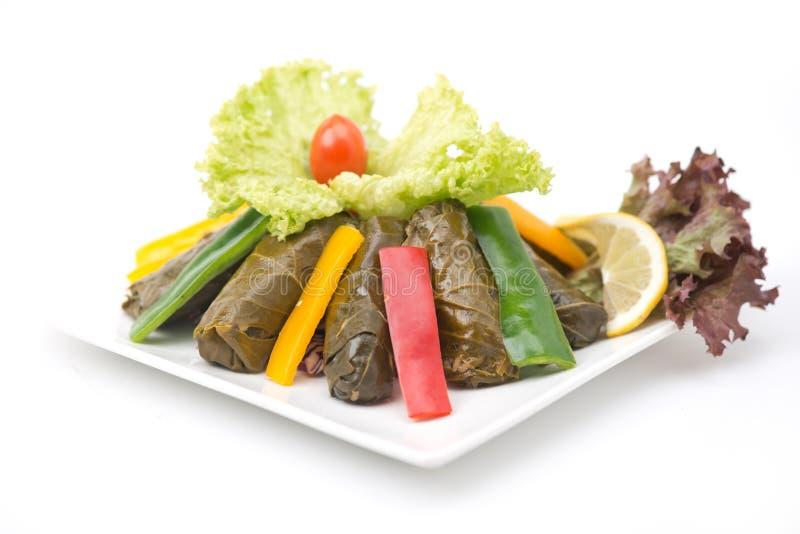 La vigne bourrée part de la cuisine de Libanais de plat photographie stock libre de droits
