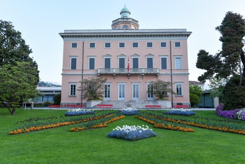 La villa sul parco botanico di Ciani nel centro di Lugano immagini stock libere da diritti