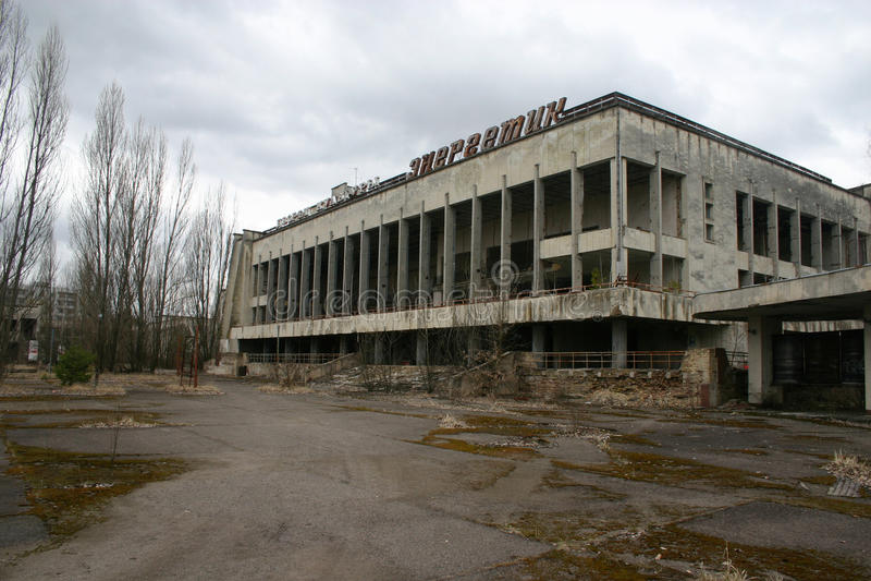 La ville abandonnée de Pripyat, Chernobyl image libre de droits