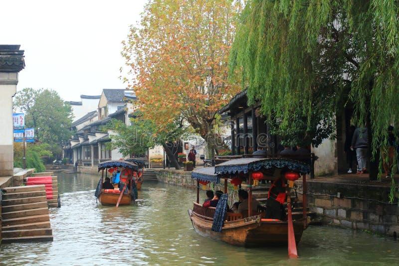 La ville antique de Nanxun à l'automne photo stock