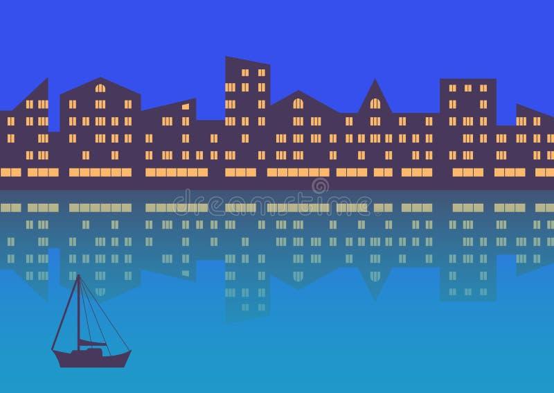 La ville avec l'illumination de soirée abrégez le fond Composition horizontale illustration stock