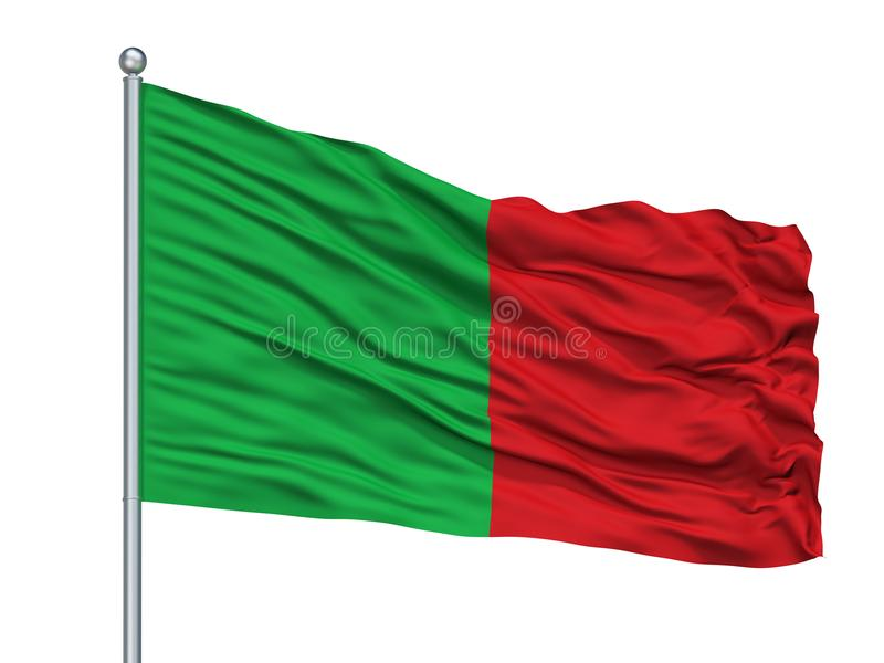 La Ville City Flag On Flagpole, Bélgica de los fosos, aislada en el fondo blanco libre illustration