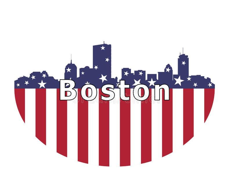 La ville de Boston et drapeau des Etats-Unis illustration de vecteur