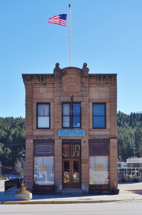 La ville de fièvre de l'or de Custer dans le Black Hills du Dakota du Sud images libres de droits
