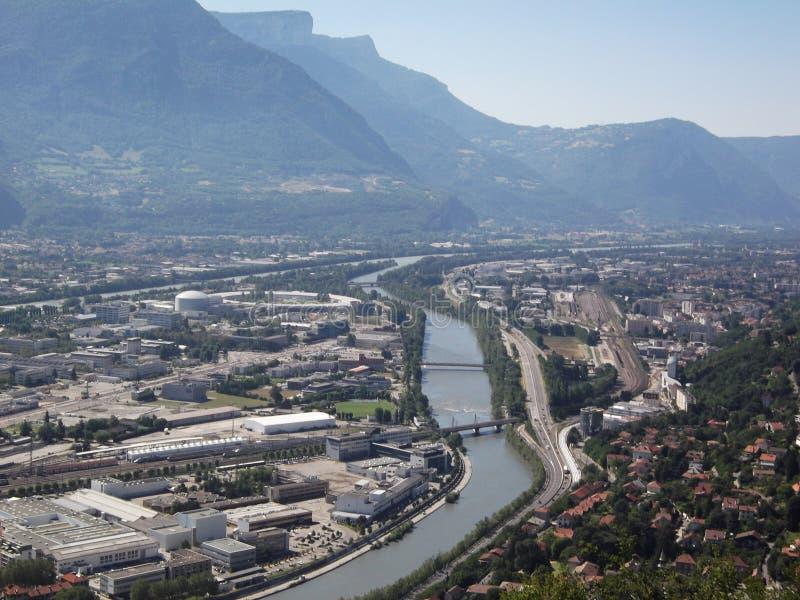 La ville de Grenoble de la colline de bastille images libres de droits