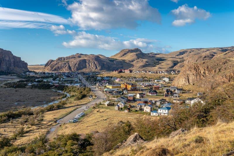 La ville de l'EL Chalten d'en haut photographie stock libre de droits
