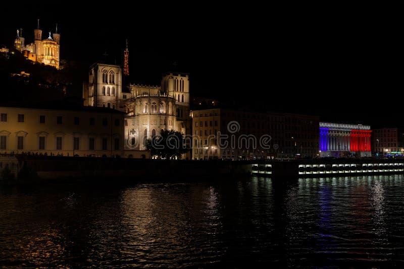 La ville de Lyon commémore le jour de bastille image libre de droits