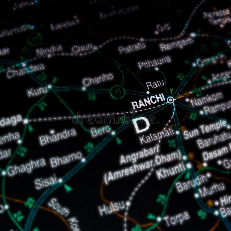 la ville de ranchi en Inde sur une carte géographique images stock