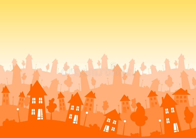 La ville de Sunny Silhouette loge l'horizon illustration de vecteur