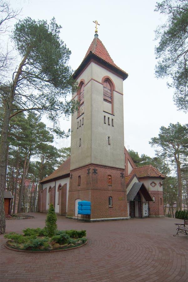 La ville de Svetlogorsk jusqu'en 1946 la ville de Raushen Église Saint-Seraphim De Sarov photo libre de droits