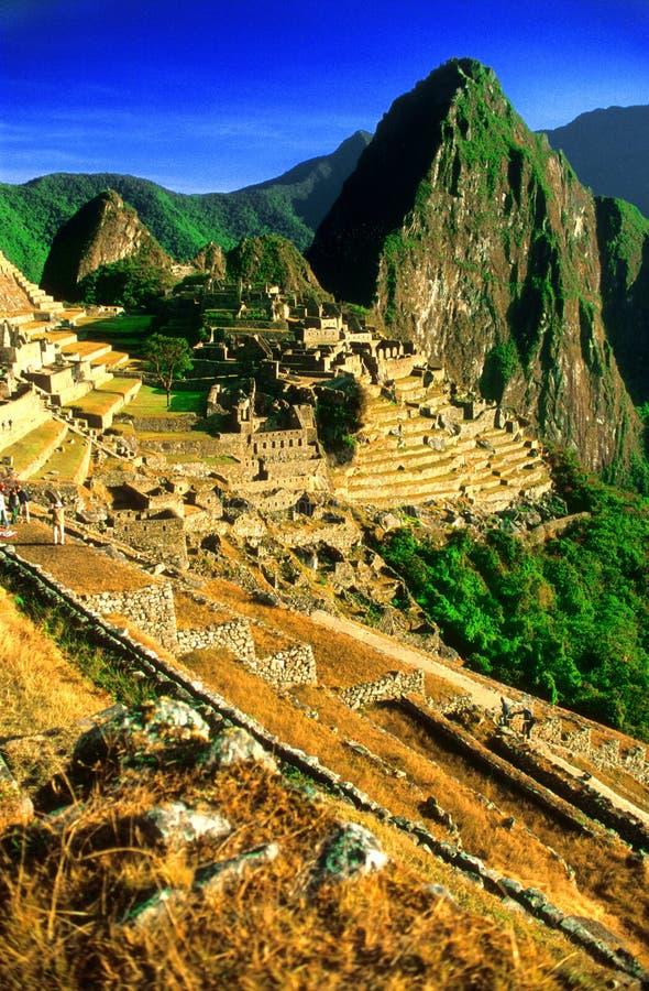 La ville en terrasse de Machu Picchu photo stock