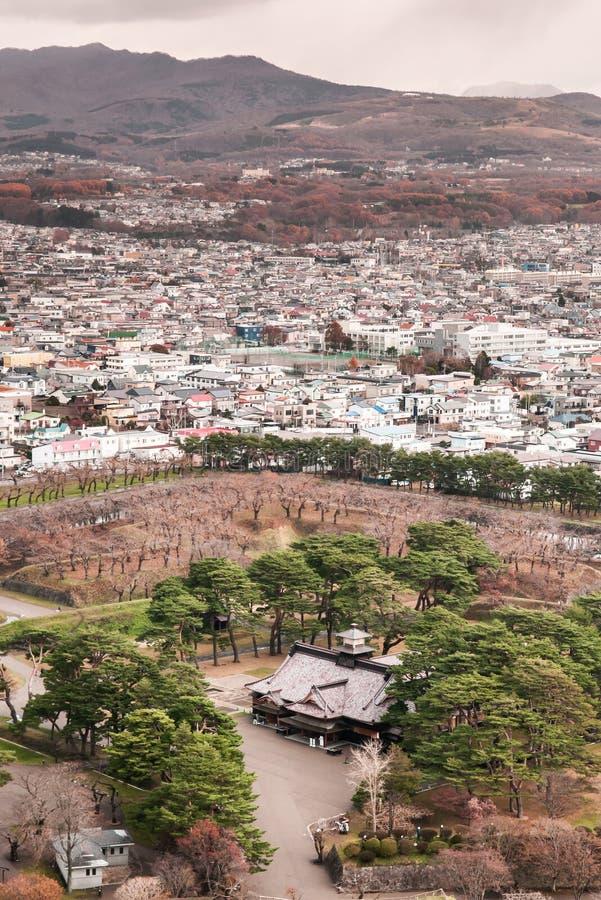 La ville et le Goryokaku de Hakodate se retranchent la tour, vue aérienne photo stock