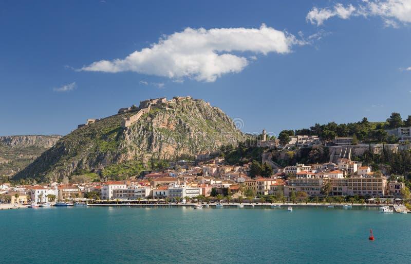 La ville et le Palamidi de Nafplio se retranchent, la Grèce photo libre de droits
