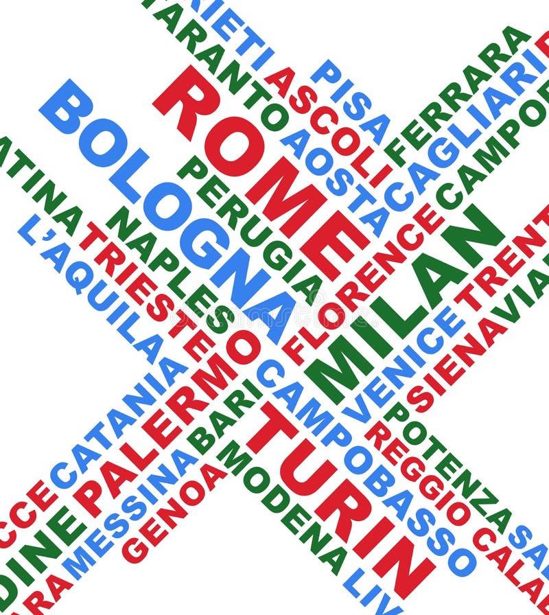 La ville italienne nomme le collage illustration libre de droits