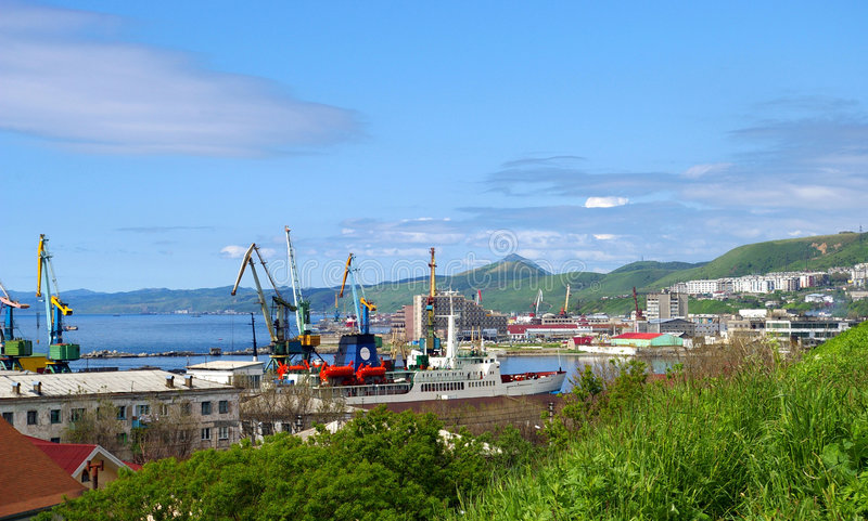 La ville Kholmsk de l'île Sakhalin.The. photo stock