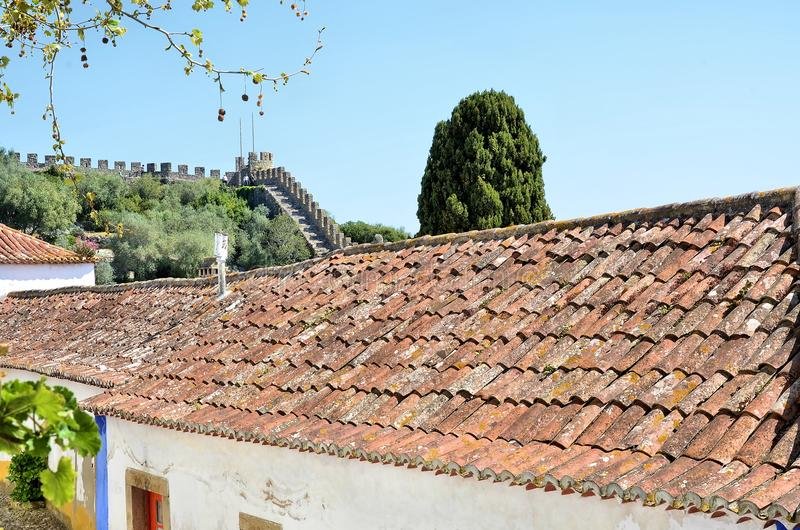 La ville médiévale d'Obidos au Portugal image stock