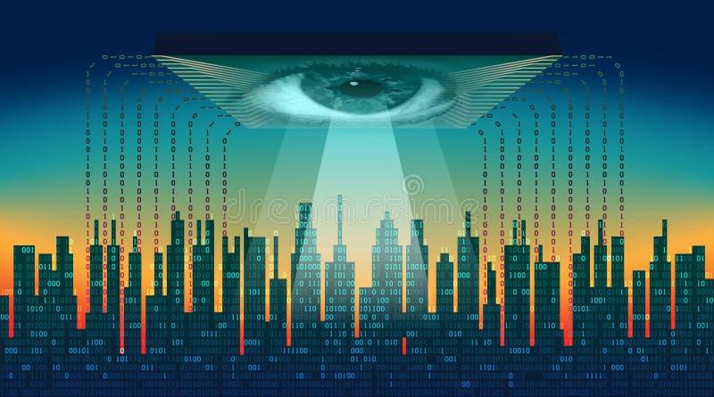 La ville numérique Concept électronique d'oeil de frère, technologies pour la surveillance globale, degré de sécurité des système illustration de vecteur