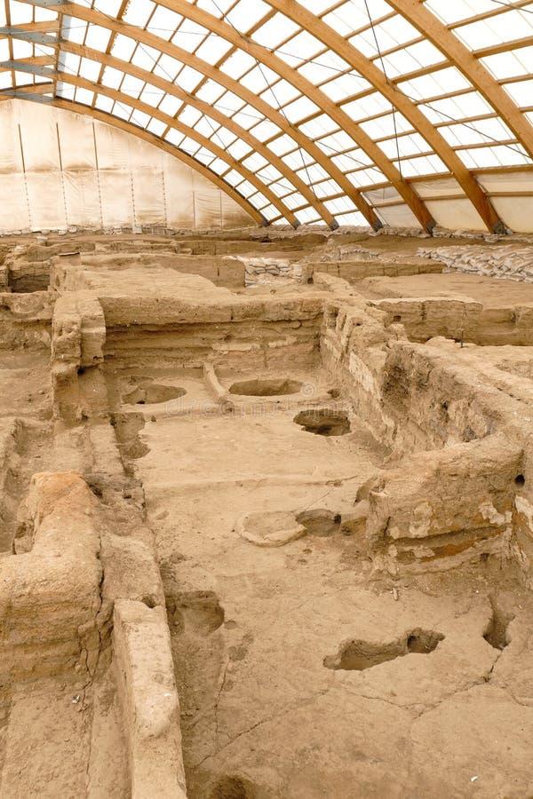 La ville la plus ancienne de Catalhoyuk en monde images libres de droits
