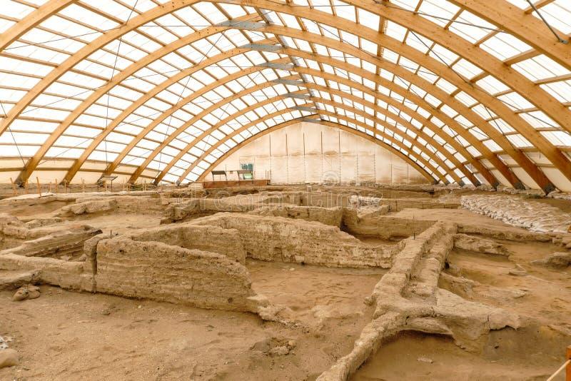 La ville la plus ancienne de Catalhoyuk en monde image libre de droits