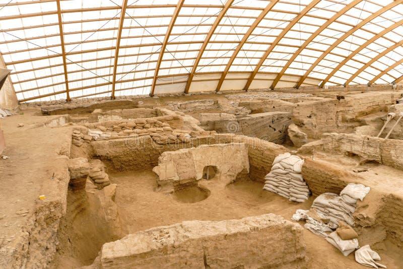 La ville la plus ancienne de Catalhoyuk en monde photographie stock libre de droits