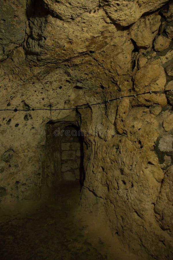 La ville souterraine de Derinkuyu est une ville à multiniveaux antique de caverne dans Cappadocia, Turquie Visite verte photographie stock libre de droits