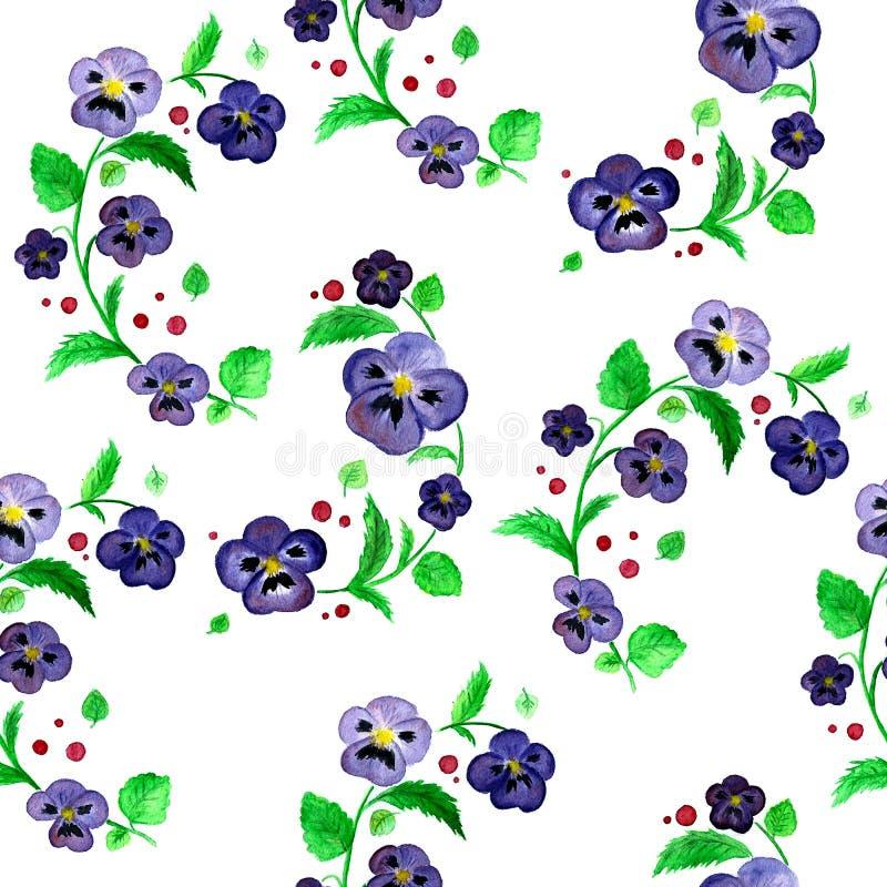 La viola dell'acquerello fiorisce il modello senza cuciture del quadro televisivo illustrazione vettoriale
