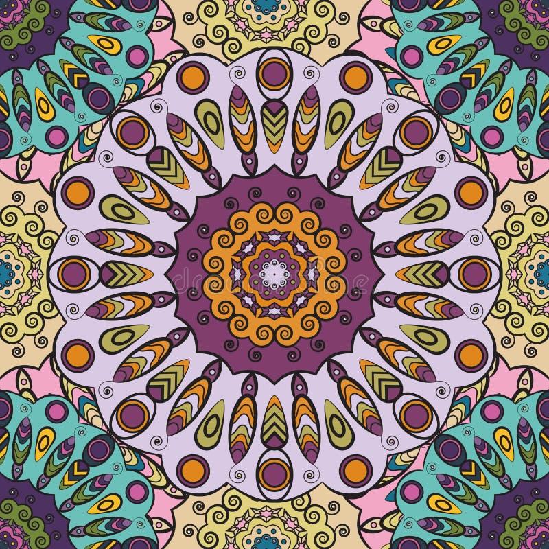 La viola ha colorato il modello senza cuciture con il orament floreale orientale Progettazione orientale floreale in Azteco, turc illustrazione vettoriale