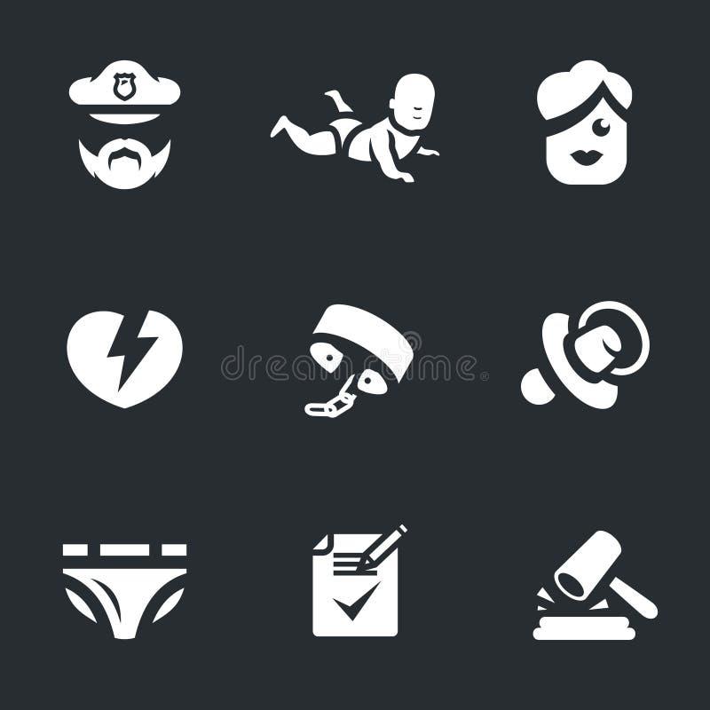 La violación determinada del vector del niño endereza iconos libre illustration