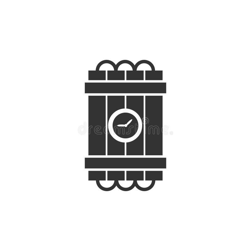 La violencia de la explosión de la bomba de la dinamita detona el icono de la bomba de la dinamita completamente stock de ilustración