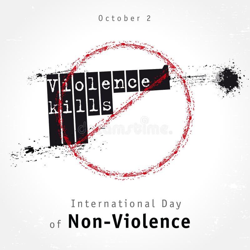 La violencia mata al diseño de letras, concepto para el día internacional de No-violencia stock de ilustración
