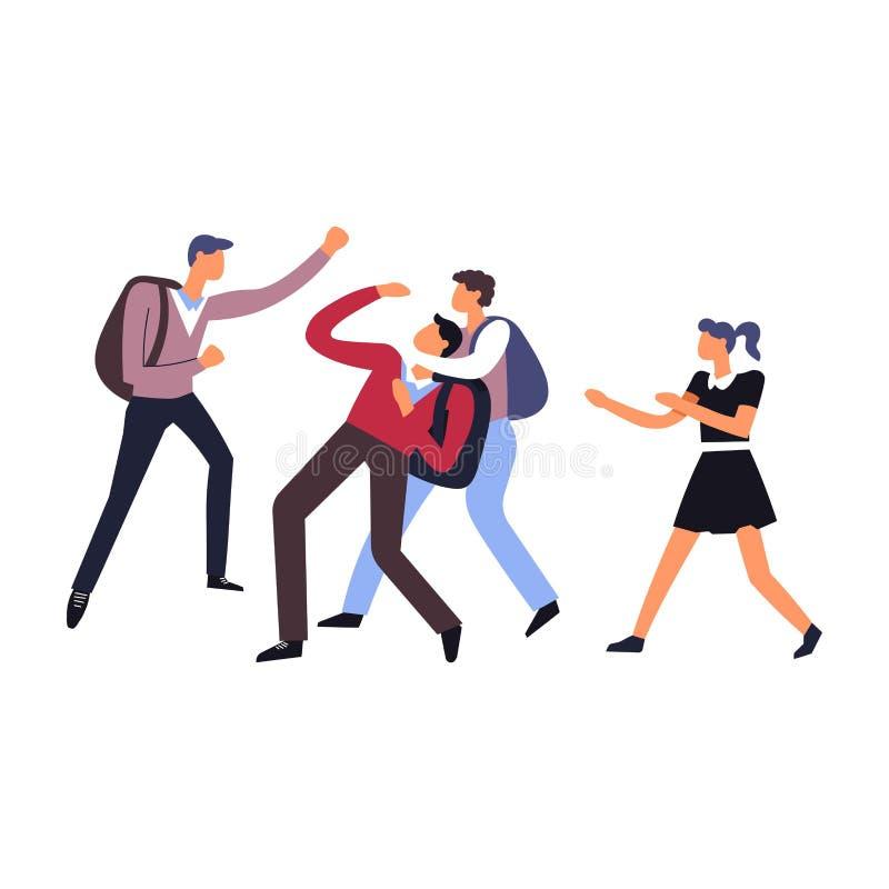 La violencia y el acoso en compañeros de clase de la escuela tienen lucha ilustración del vector