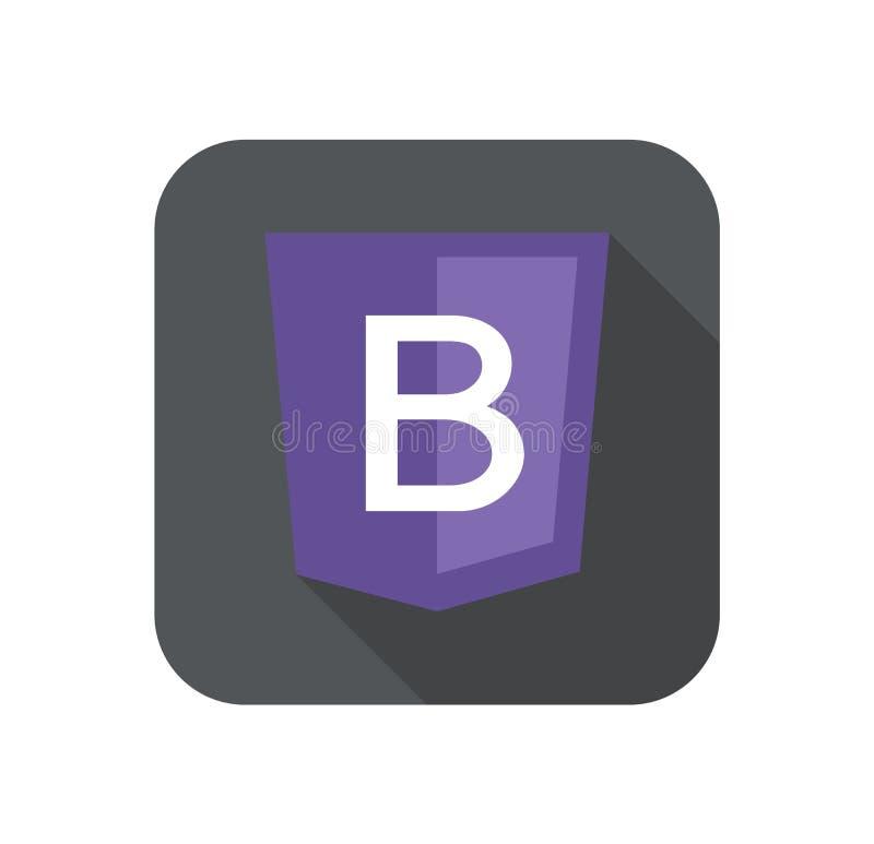 La violeta de la letra B de la muestra del escudo del desarrollo web aisló el icono en insignia gris con la sombra larga stock de ilustración