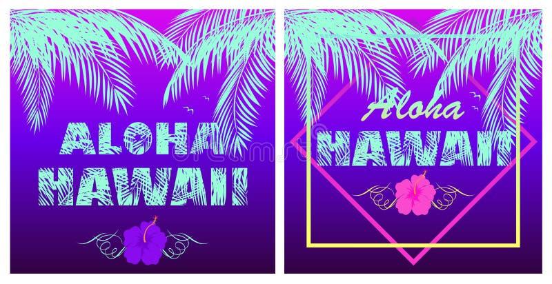 La violeta de neón de la camiseta imprime la variación con las letras del color de la menta de Aloha Hawaii, las hojas de palma d ilustración del vector