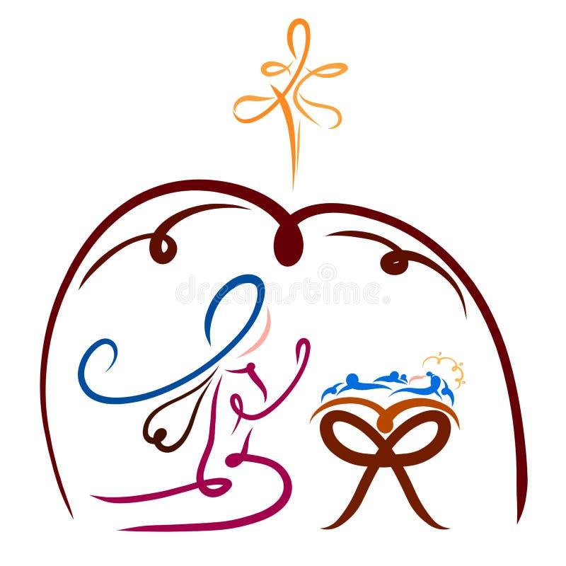 La Virgen María se arrodilla antes del pesebre con Jesús, el establo ilustración del vector