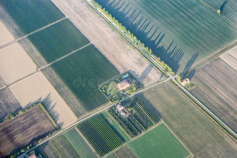 La visión aérea coloca el lavabo Italia del Po fotos de archivo