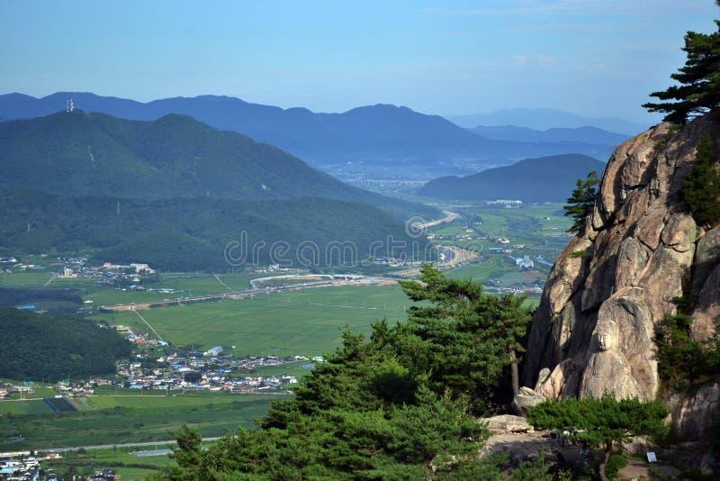 La visión alrededor de la montaña de Namsan Allí ` s una talla de Buda si imagenes de archivo