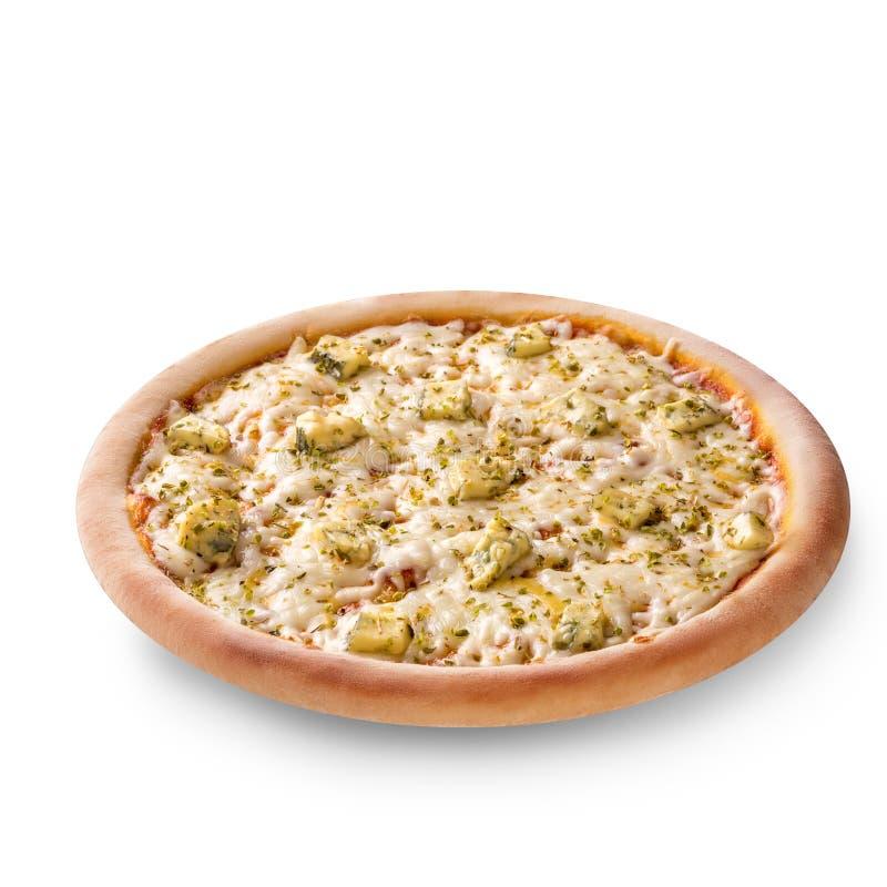 La visión de arriba aislada en blanco de un conjunto coció recientemente la pizza italiana deliciosa de cuatro quesos en el fondo fotografía de archivo