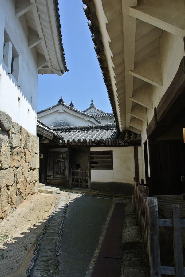 La visión en el castillo de Himeji-jo en Japón en la prefectura de Hyogo imagenes de archivo