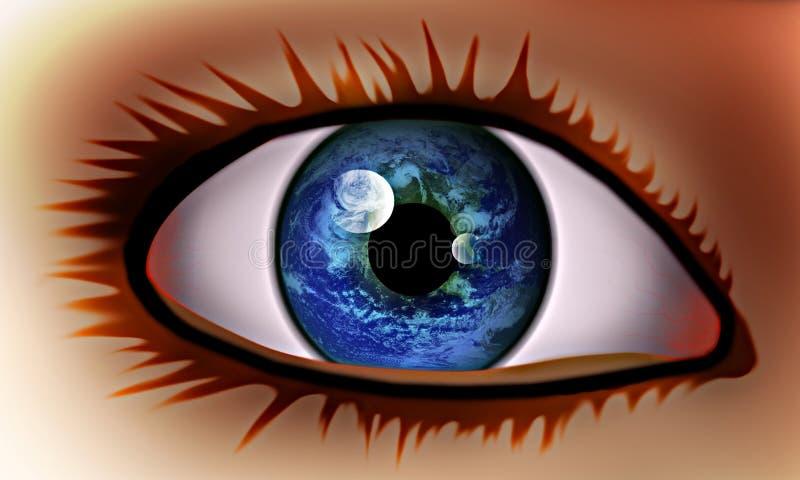 La visión en el mundo. ilustración del vector