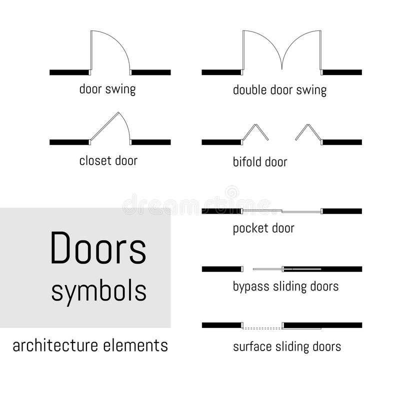 La visión superior, símbolos de la construcción usados en arquitectura planea, los elementos del diseño gráfico Ilustración del v stock de ilustración