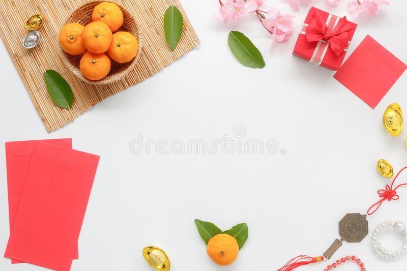 La visión superior tiró de Año Nuevo chino de la decoración del arreglo y de festival lunar fotos de archivo