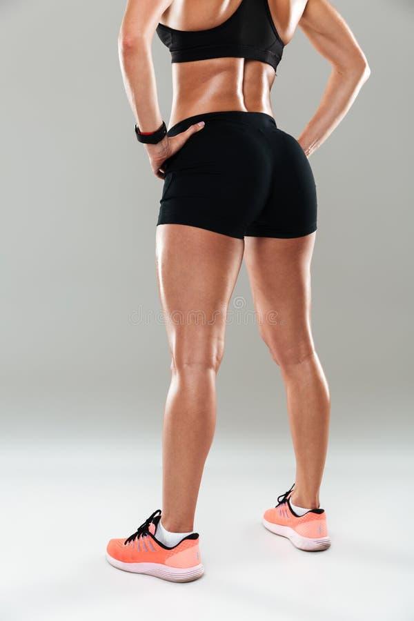 La visión trasera cosechó imagen de un cuerpo femenino muscular sano foto de archivo
