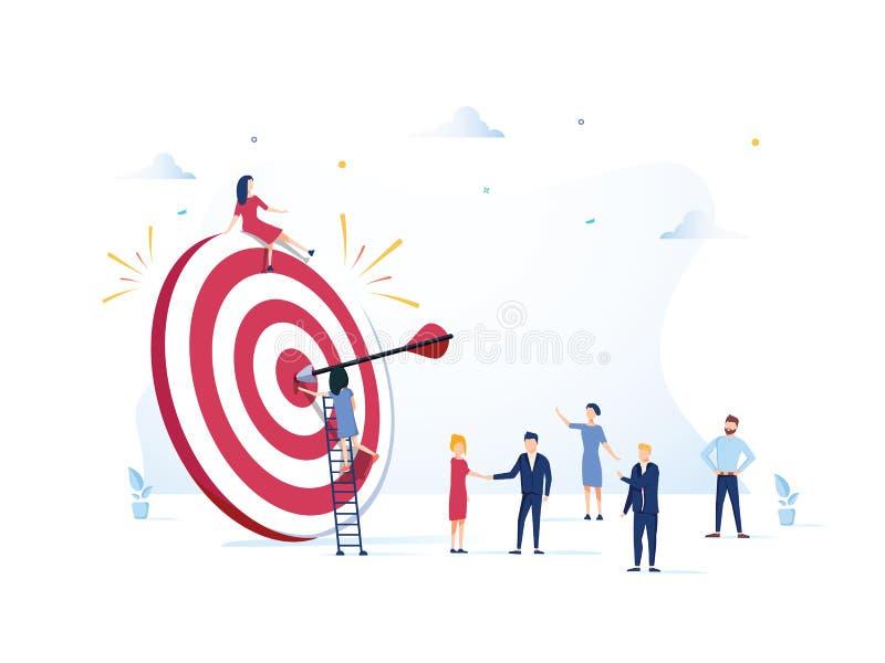 La vision d'affaires, grande cible avec des personnes, le travail d'équipe, course de personnes à leur but, se relèvent la motiva illustration de vecteur