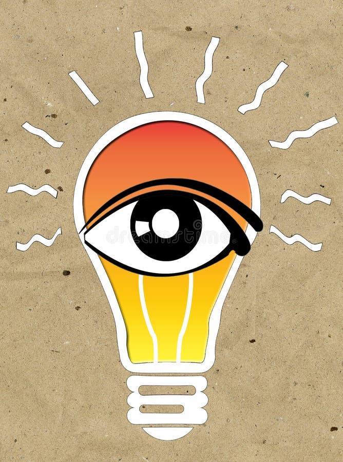 La vision et les idées signent, icône d'oeil, symbole d'ampoule, symbole de recherche illustration libre de droits