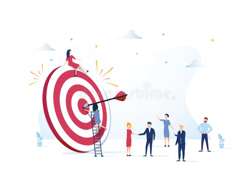 La visione di affari, il grande obiettivo con la gente, il lavoro di squadra, funzionamento della gente al loro scopo, si alza la illustrazione vettoriale