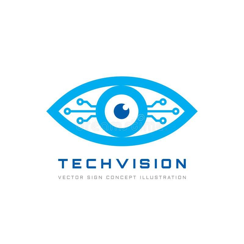 La visione di tecnologia - vector l'illustrazione di concetto del modello di logo Segno creativo astratto dell'occhio umano Tecno illustrazione vettoriale