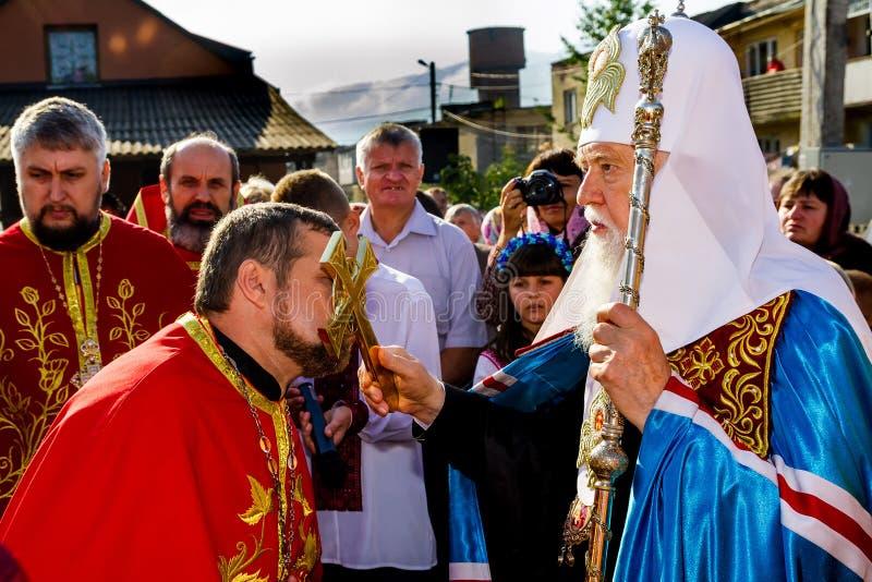 La visita del patriarca de la iglesia ortodoxa ucraniana Kiev foto de archivo libre de regalías